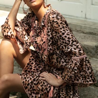 Kort kleedje met tijgerprint